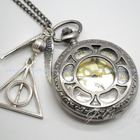 Unique Harry potter pocket WATCH gun black, antique silver deathly hallow and golden snitch pendant locket watch necklace NWH10