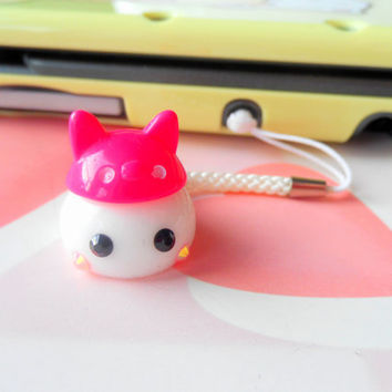 Kitty Hat Cosplay White Hoppe Chan, Tamagotchi Charm, Kawaii Phone Charm, Cute Dust Plug, Nintendo 3DS, PS Vita, Anime Lovers, Kawaii Animal