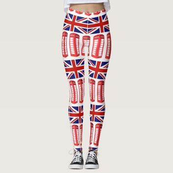 British Flag Red Phone Booth Leggings
