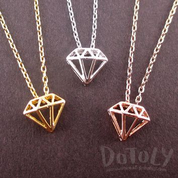 3D Small Diamond Outline Shaped Pendant Necklace in Silver Gold or Rose Gold