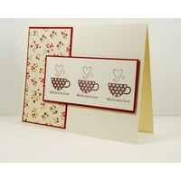 Thinking Of You Handmade Card With Coffee Cups Of Latte Love Hearts