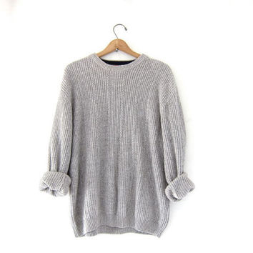 vintage gray sweater. oversized slouchy pullover sweater. men's cotton sweater