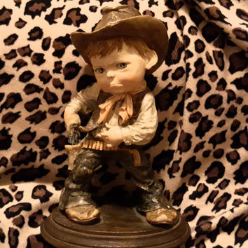 Vintage Cowboy Figurine Sculpture of Cute Cherub Face  Little Boy About to Draw His Pistol - Lovely Brown Earth Tones - Made in Mexico