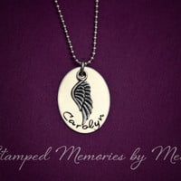 Memorial Jewelry - Infant or Child Loss Necklace- Hand Stamped Stainless Steel - Angel Wing - Personalized Remembrance Gift - Lost Loved One