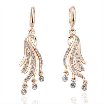 18K Gold Dangling Tree Branch Earrings Made with Swarovksi Elements