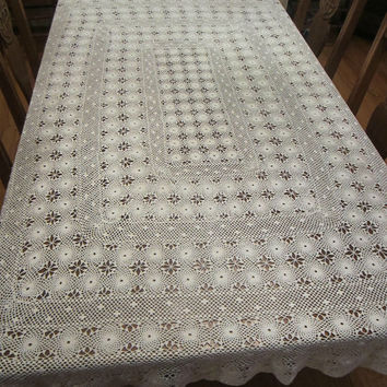 Hand Crochet White Tablecloth Oblong Vintage