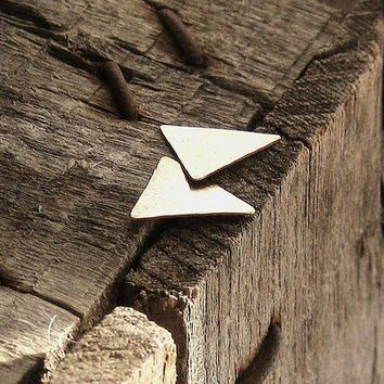 Brass Triangle Stud Earrings