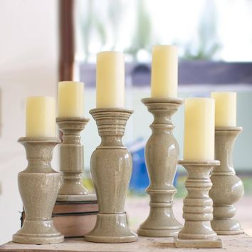 Grey Ceramic Candle Holders (Set of 6)