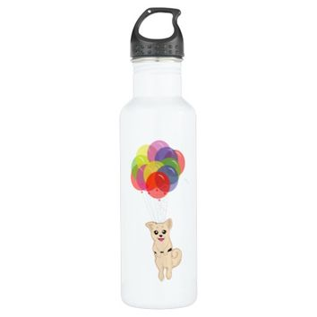 Puppy with Balloons Water Bottle