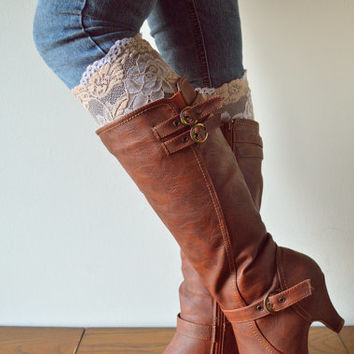 Beige Lace boot cuff, Floral lace cuffs, accessories