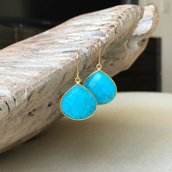 Turquoise Earrings, Turquoise Earrings Dangle, Gold Turquoise Earrings Dangle, Turquoise Dangle Earrings, Gold Turquoise Earrings, Turquoise
