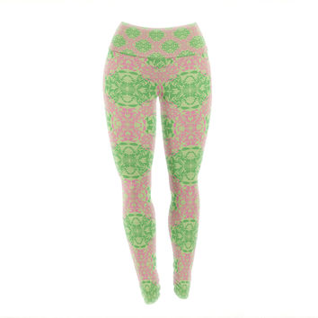 "Mydeas ""Diamond Illusion Damask Watermelon"" Pink Green Yoga Leggings"