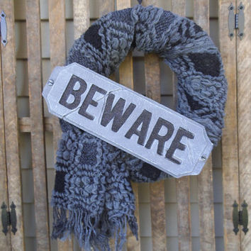 Halloween Wreath - Rustic Wreath -Beware - Black and Grey Wreath - Primitive - Halloween Door Wreath