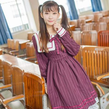 Autumn And Winter JK uniforms Japanese style Slim stripes Lolita Retro Navy collar dress College style long sleeve College dress
