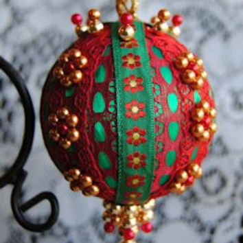 """Gold Flower"" Ornament USA Handcrafted Beaded Victorian Christmas Ornament"