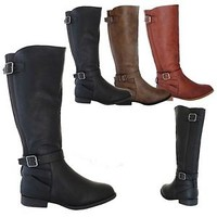NEW Womens Riding Boots Knee High equestrian stretch Mid Calf Casual Shoe winter