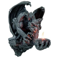 Gargoyle with Wings Holding Flame Wall Hanging 12 3/8H