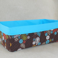 Long Brown and Turquoise Paisley Fabric Basket