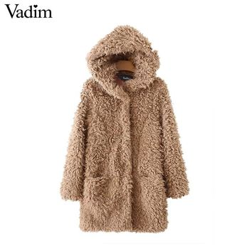 Vadim women thick warm faux fur hooded long coat winter pockets long sleeve vintage jacket solid casual outerwear tops CT1573