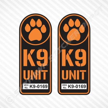 K9 Unit Badge Sticker Set Vinyl Decal Hunting Bomb Police Dog Paw Fits Jeep Ford