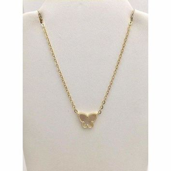 Luxinelle Mother of Pearl Butterfly Pendant - 14K Yellow Gold