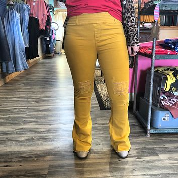 Mustard Distressed Flare Jeans