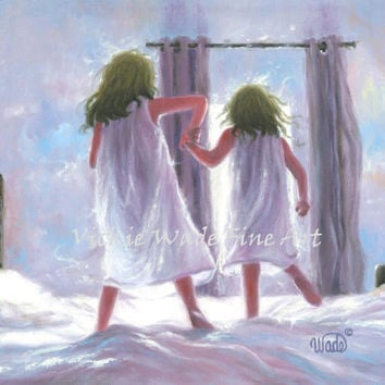 Two Sisters Jumping On the Bed Art Print, girls bedroom pink wall art blue, two blonde girls, Vickie Wade art, loving sisters