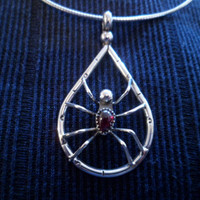 Authentic Navajo,Native American Southwestern sterling silver red garnet spider pendant/necklace.