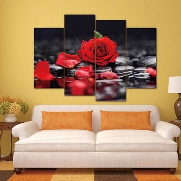 4 Pieces/set Canvas Print Flower White Lotus In Black Wall Art Picture with Modern Wall Paintings Modular picture (Unframed)