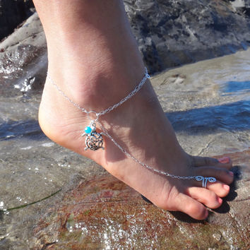 Slave Anklet Sea Turtle - A great accessory for your favorite heels / Customizable, Available in  Gold or Silver
