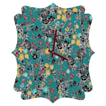 Sharon Turner Cloisonne Flowers Quatrefoil Clock
