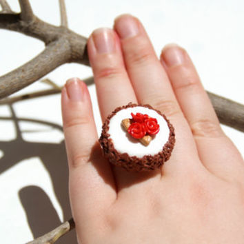 White and Brown Chocolate Cake Ring, Handmade Polymer Clay