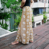 Skirt Wrap Pants Palazzo Harem Boho Printed Women Sarongs Clothing Tribal Hippie Wide Legged Rayon pants Gypsy Thai Baggy Boho Elephant Tank