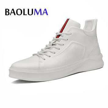 Baoluma Designer Real Leather Men Shoes Autumn Winter High-top Stamping Pattern Fashion Lace-up Man Shoe Black White Homme