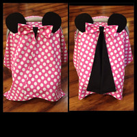 Minnie Mouse Car seat canopy pink and white polka dot cotton with black minky inside
