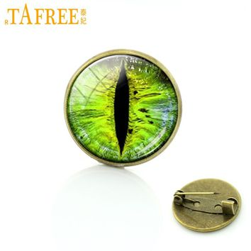 TAFREE Exquisite green evil eyes pins Novelty dragon eye badge eyeball brooches fashion men women jewelry friends gift T412