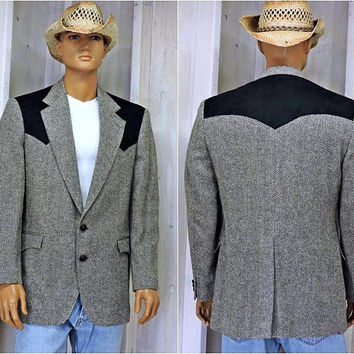 Mens western jacket size XL / 44 chest / Tweed sports coat / Authentic Taos Country USA / vintage 80s wool blazer / black gray sports coat