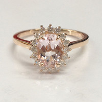 Morganite Engagement Ring 14K Rose Gold!Diamond Wedding Bridal Band,6x8mm Oval Cut Pink Morganite,Halo Flower,Promise Ring,Claw Prongs