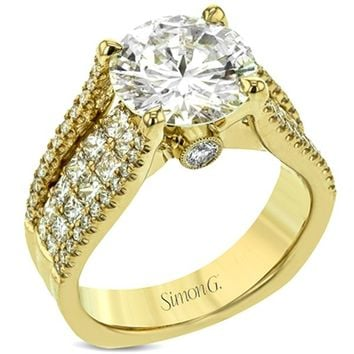 "Simon G. Large Center ""Cathedral Style"" Diamond Engagement Ring"