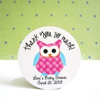 Pink Owl with Turquoise Wing Stickers, Personalized from Adorebynat