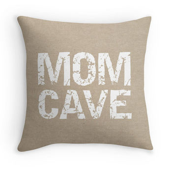 Mom Cave Typography on a Burlap Look Pillow Cover, Statement Decorative Throw Pillow, Rustic Decor, Funny