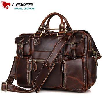 LEXEB Vintage Thick Cowhide Leather Satchel Briefcases For Men, College Back To School Messenger Bags, Overnight Travel Duffle