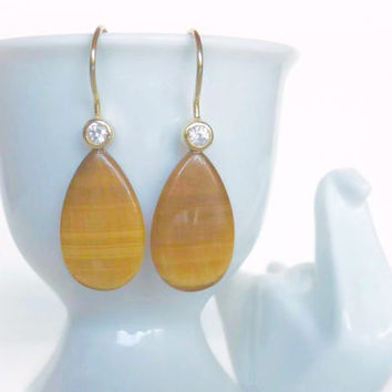 Golden Tigers Eye Earrings - Gold Gemstone Drop Earrings - Natural Stone Dangle Earring Pair - Tigers Eye Jewelry - White Gemstone Accent