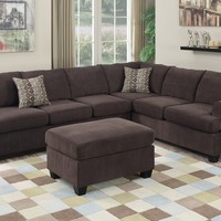 2 pc Manhattan II collection coffee textured velvet upholstered reversible sectional sofa