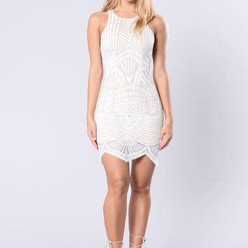 Ace In Lace Dress - White/Nude
