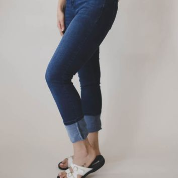 Cuffed Denim Capri - Blue