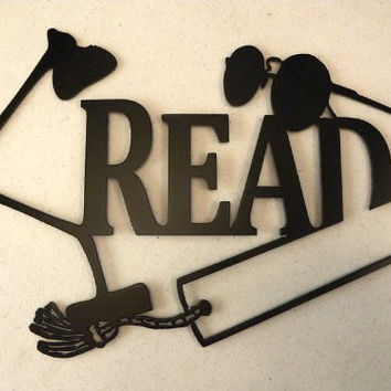 Read Word with Lamp Metal Wall Art Reading Decor