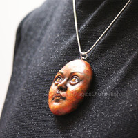 Sun unique pendant, handmade and hand painted portrait sculpture of sun as art jewelry