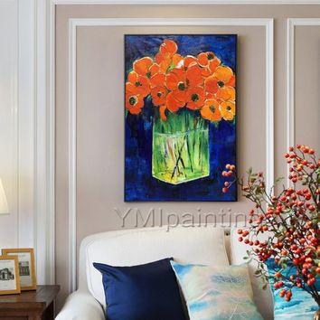 Abstract Orange poppy flowers acrylic painting on canvas extra large heavy texture Palette Knife Wall Pictures wall decor cuadros abstractos