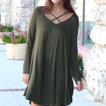 Long Sleeve Strappy Chest Tunic Dress {Olive}